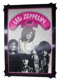 Image - Vintage Led Zeppelin poster framed in a hand carved frame