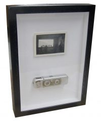 Image - Welded steel fraem shadowbox for WWII spy camera and photo