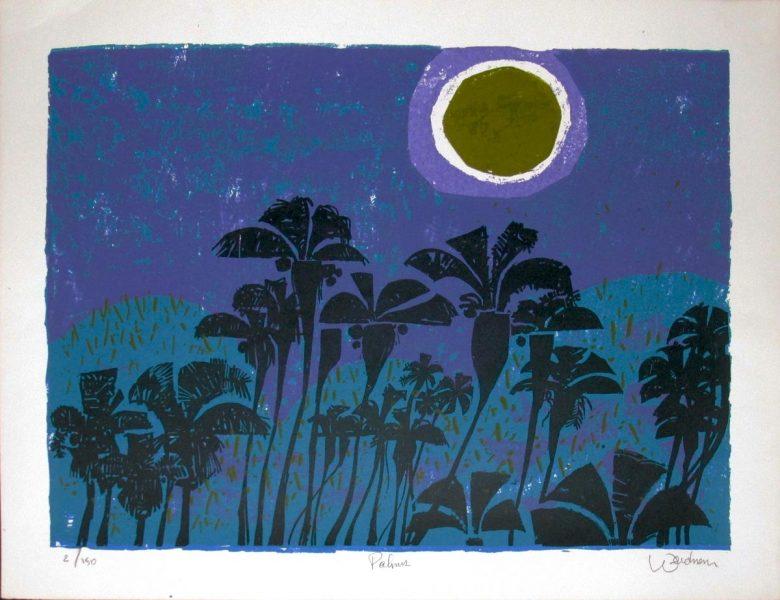Palms (Blue w/Green Moon) - DW00034