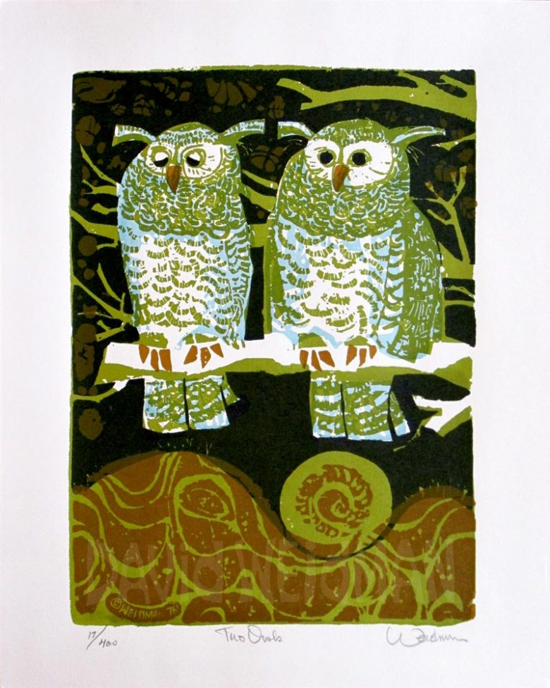 Image of Two Owls (Blue) - DW00166