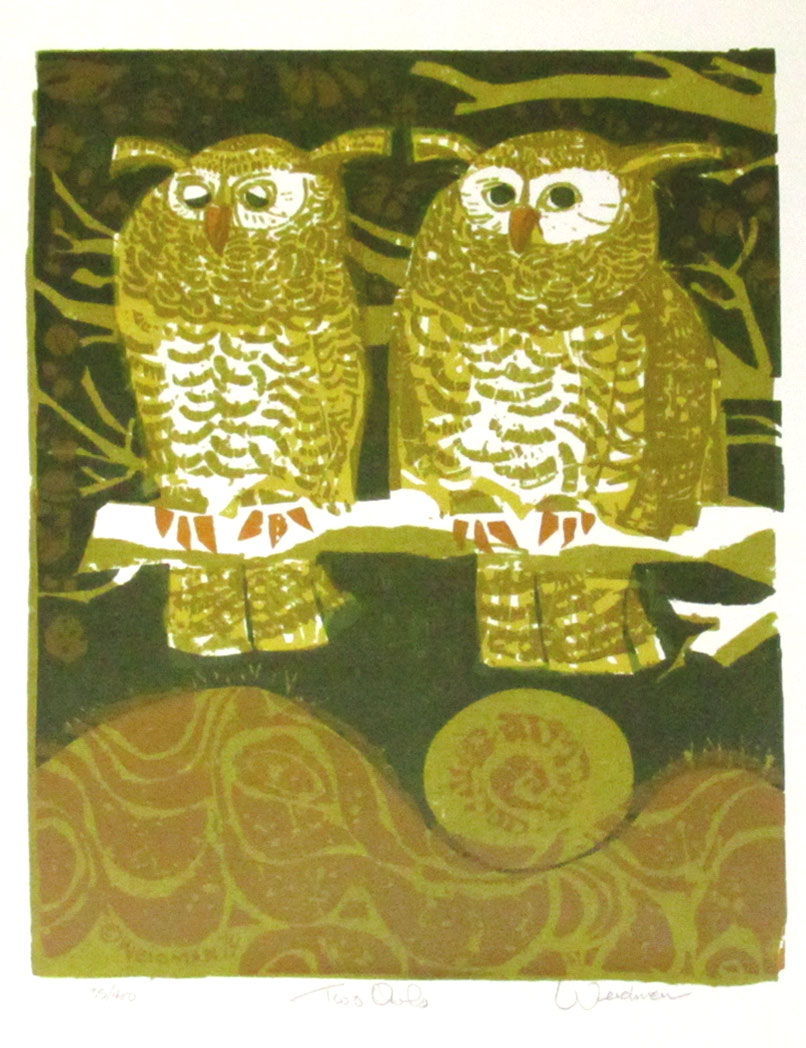 Two Owls (gold) - DW00190