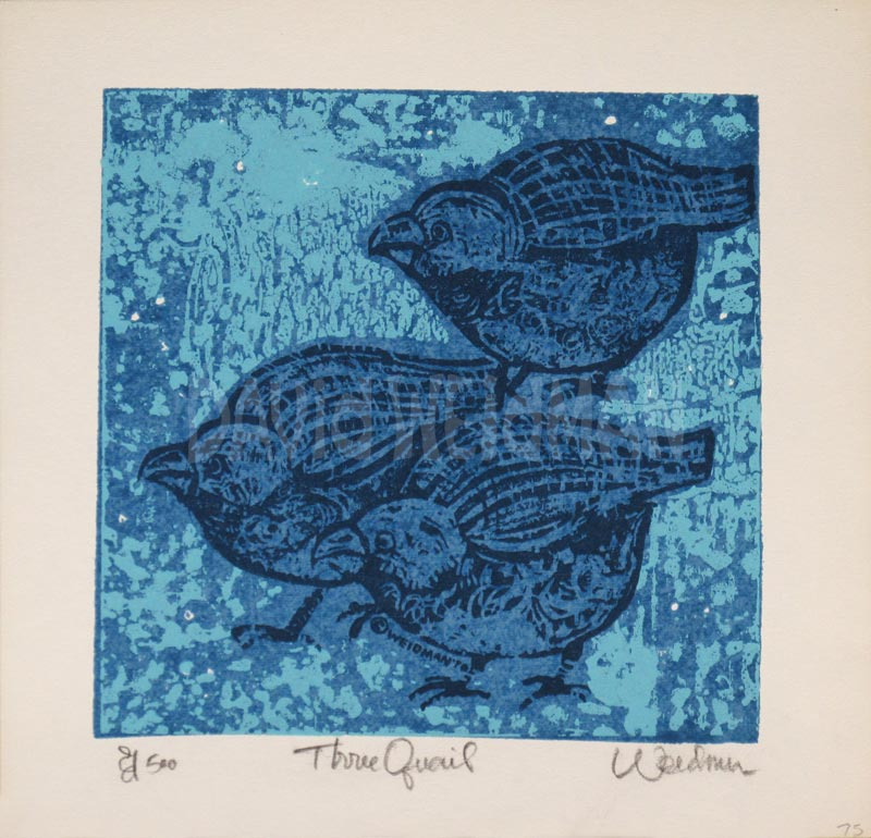 Image of Three Quails (Blue) - David Weidman - DW00068