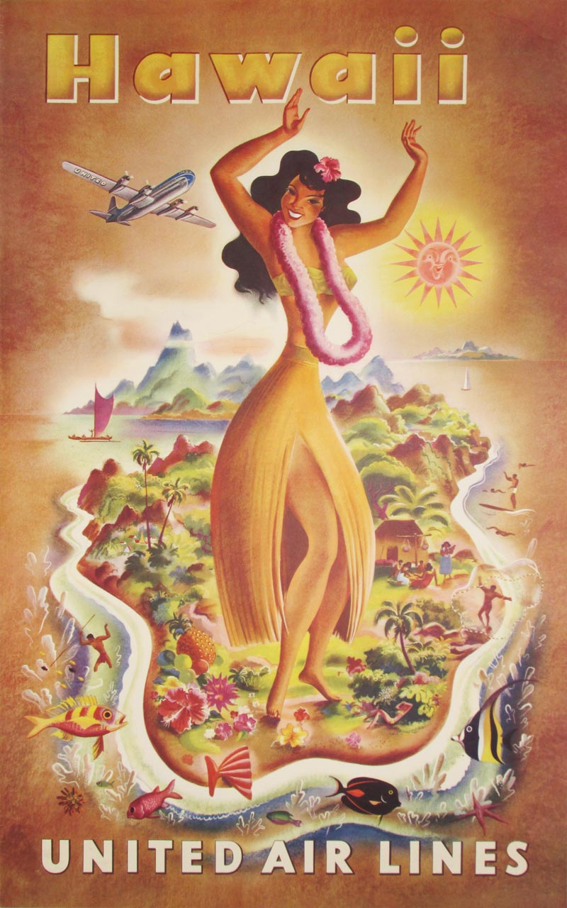Image of United Air Lines - Hawaii - poster - WG00496
