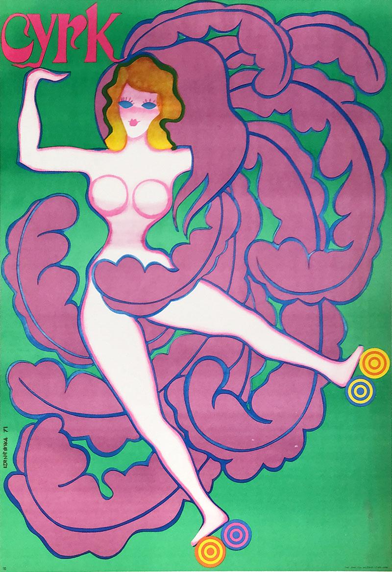 Image of Cyrk- Girl on Roller Skates - Polish circus poster - WG00541