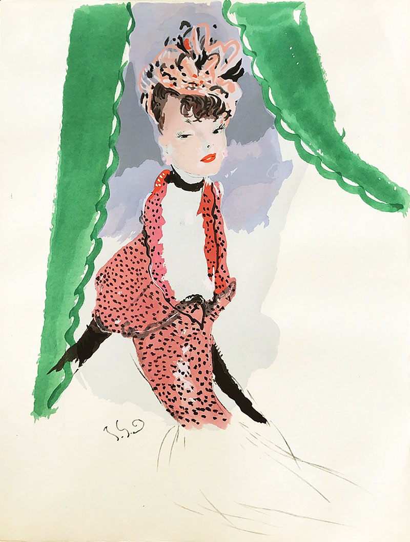 Elegant Woman Behind Green Curtain WG00647