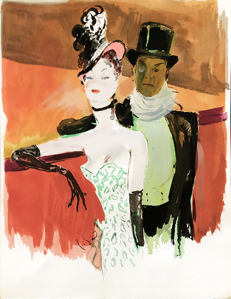 image of Elegant Woman with Man in Top Hat WG00650