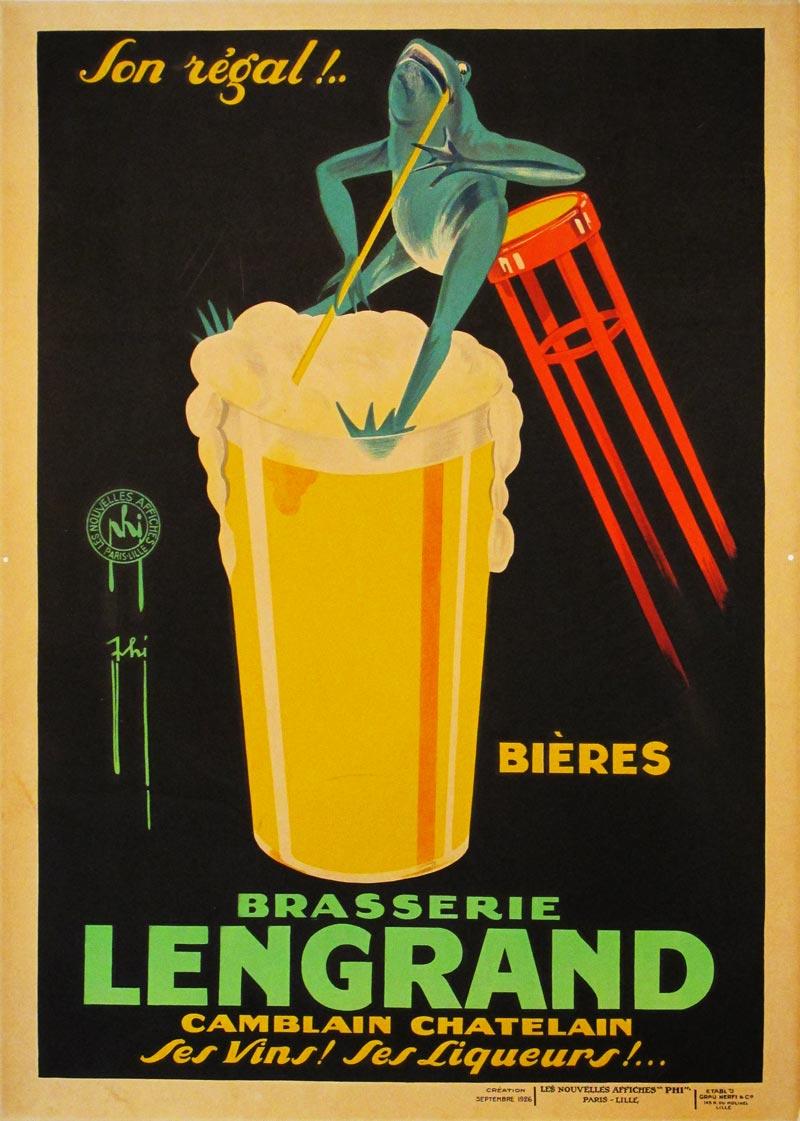 Image of Brasserie Lengrand - Vintage beverage poster - LK00003